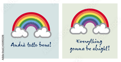 "A rainbow for hope and wish: ""andrà tutto bene"" ""everything gonna be alright"" Canvas Print"