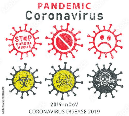 Photo MERS Corona Virus Biohazard safety prohibition icon shape
