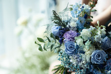 Wedding Bouquet Of Blue And Pu...