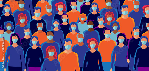 Obraz Group of people wearing protection medical face mask to protect and prevent virus, disease, flu, air pollution, contamination, corona. Many ages of old man woman. Vector illustration. - fototapety do salonu