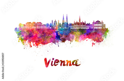 Fotografie, Obraz Vienna skyline in watercolor