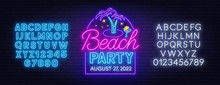 Beach Party Neon Sign On Brick...