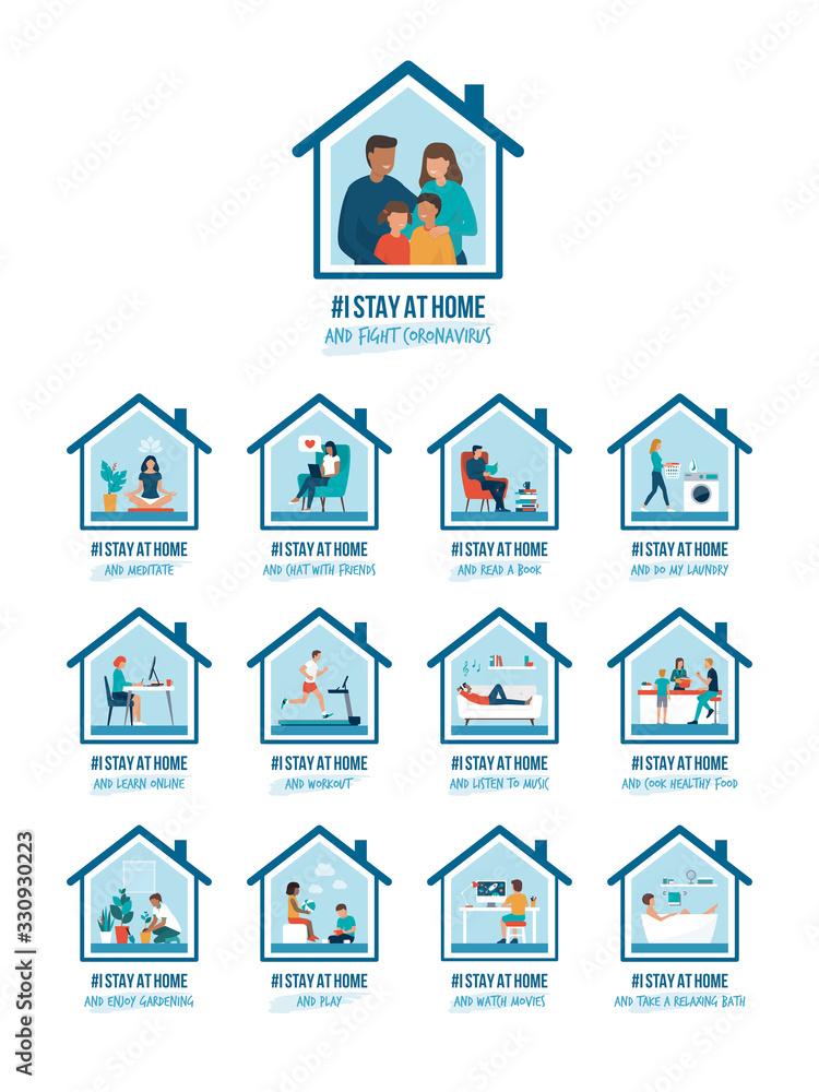 Fototapeta I stay at home awareness campaign and coronavirus prevention