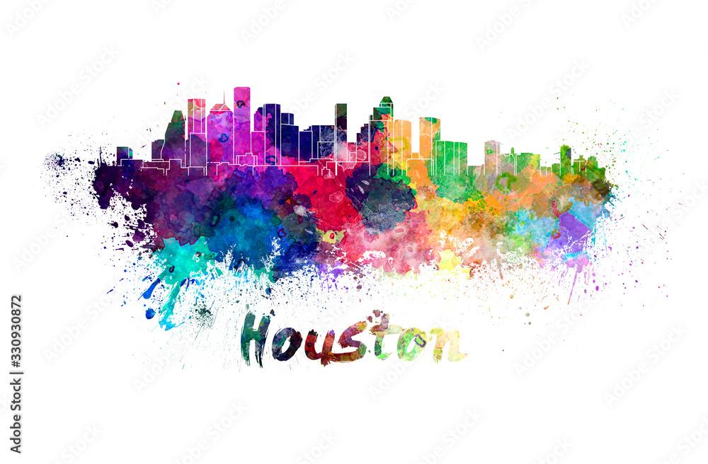 Fototapeta Houston skyline in watercolor