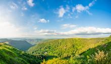 Panorama Of Green Mountains At...