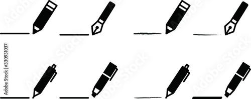 Fotomural ペンや鉛筆のアイコン/シャーペン/ボールペン/マーカー