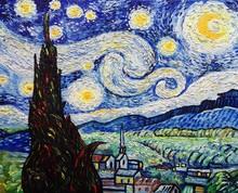 Art  Oil Painting  Moon Mountain Village ,  Van Gogh , The Starry Night
