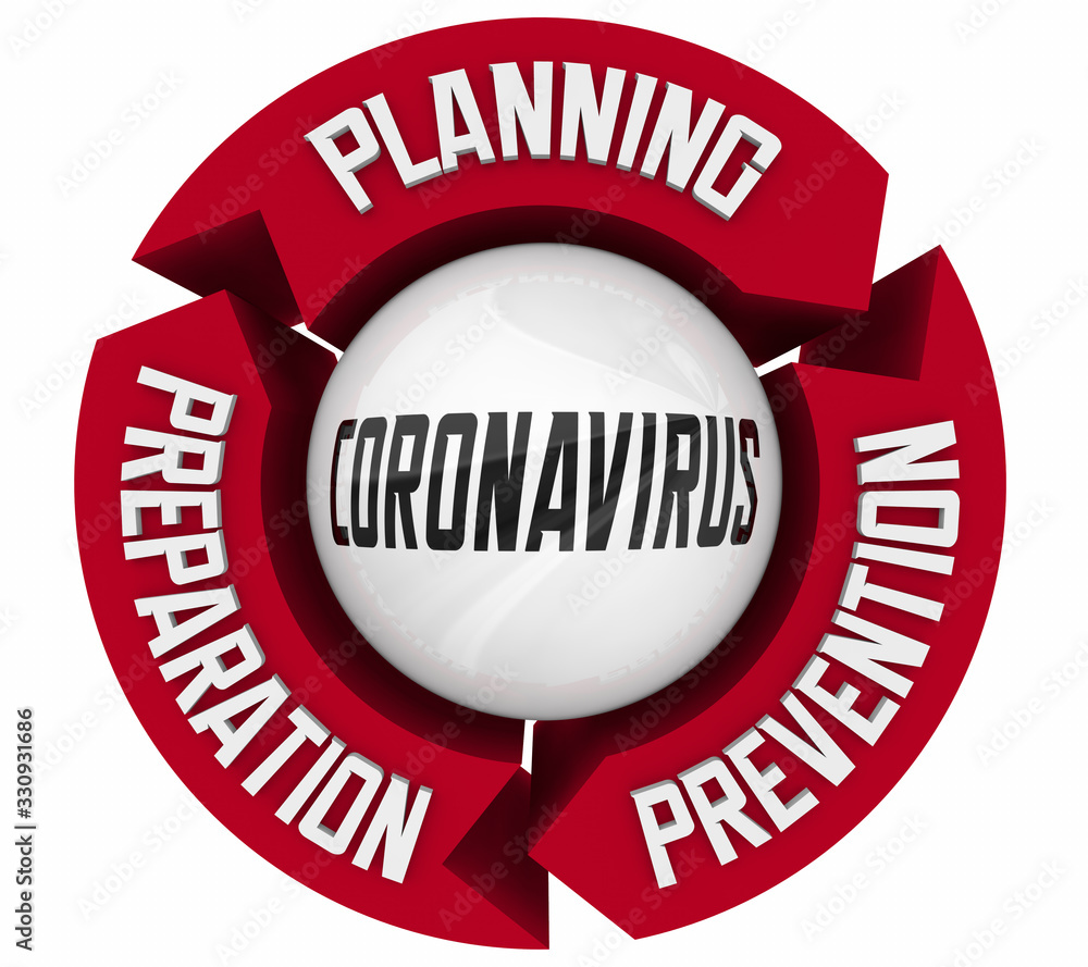 Fototapeta Coronavirus Planning Preparation Prevention COVID-19 Outbreak Pandemic 3d Illustration