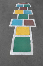 Hopscotch Game Being Drawn Wit...