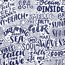 Vector Seamless Pattern With Sea Handwritten Letterings And Symbols. Hand Drawn Background
