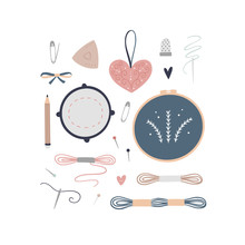 Vector Collection Tailor Equipment, Threads, Needles, Embroidery Hoop. Sewing Illustration Set Isolated On White Background