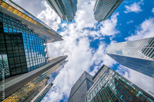 Obraz Looking up shot of downtown financial district with skyscrapers in  Toronto - fototapety do salonu