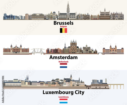 Skylines illustrations of Brussels, Amsterdam, Luxembourg City. Flags of Benelux countries: Belgium, Netherlands, Luxembourg. Vector