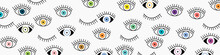 Eye Seamless Pattern. Vector Hand Drawn. Open And Close Eyes With Lash Banner Background