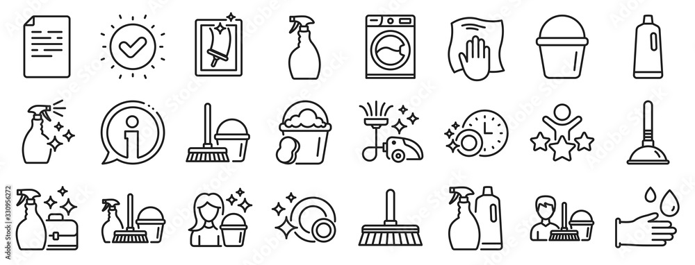 Fototapeta Laundry, Window sponge and Vacuum cleaner icons. Cleaning line icons. Washing machine, Housekeeping service and Maid cleaner equipment. Window cleaning, Wipe off, laundry washing machine. Vector
