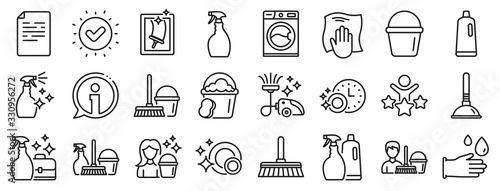 Obraz Laundry, Window sponge and Vacuum cleaner icons. Cleaning line icons. Washing machine, Housekeeping service and Maid cleaner equipment. Window cleaning, Wipe off, laundry washing machine. Vector - fototapety do salonu