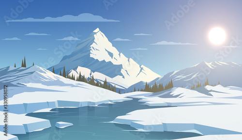 Obraz Winter day landscape with mountains - fototapety do salonu
