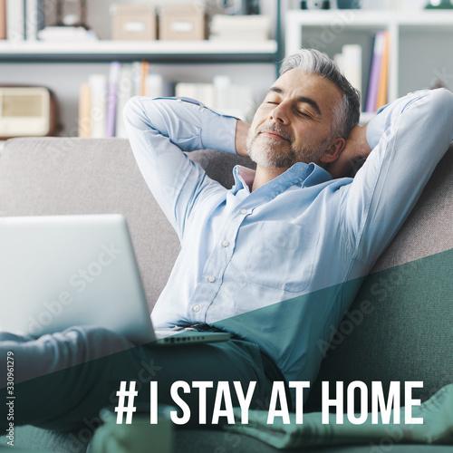 mata magnetyczna I stay at home social media awareness campaign for coronavirus prevention