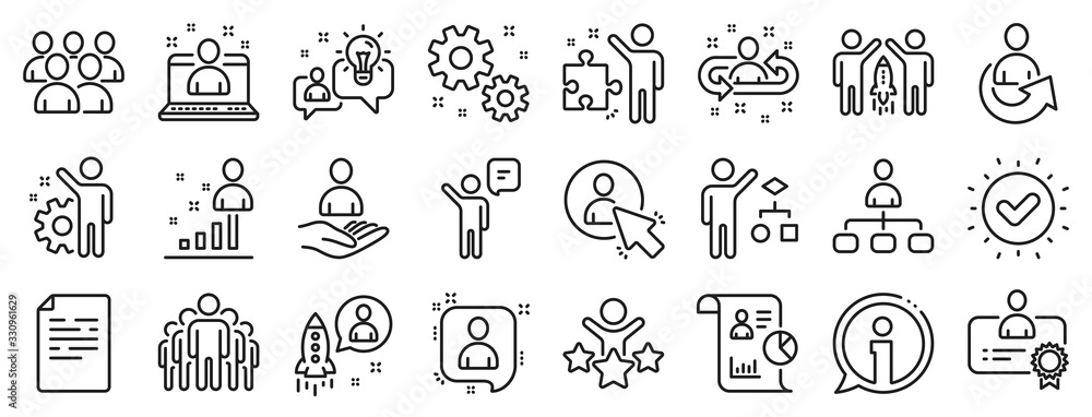 Fototapeta Set of Business audit, Startup strategy and Employee icons. Management line icons. Business strategy, Startup and Teamwork. Organization management, report and group algorithm. Employee job. Vector