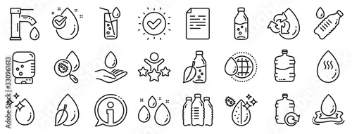 Photo Set of Bottle, Antibacterial filter and Tap water linear icons