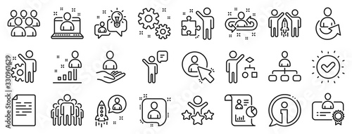 Cuadros en Lienzo Set of Business audit, Startup strategy and Employee icons