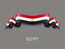 Egyptian Flag Wavy Ribbon Back...