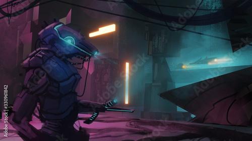 Obraz na plátne Digital 3d illustration of robot security droid patrolling a glowing futuristic