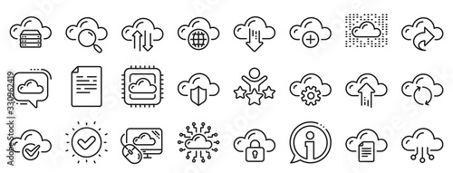 Set of Hosting, Computing data and File storage icons. Cloud data and technology line icons. Archive, Download, Share cloud files. Sync technology, Web server, Storage access. Vector - fototapety na wymiar