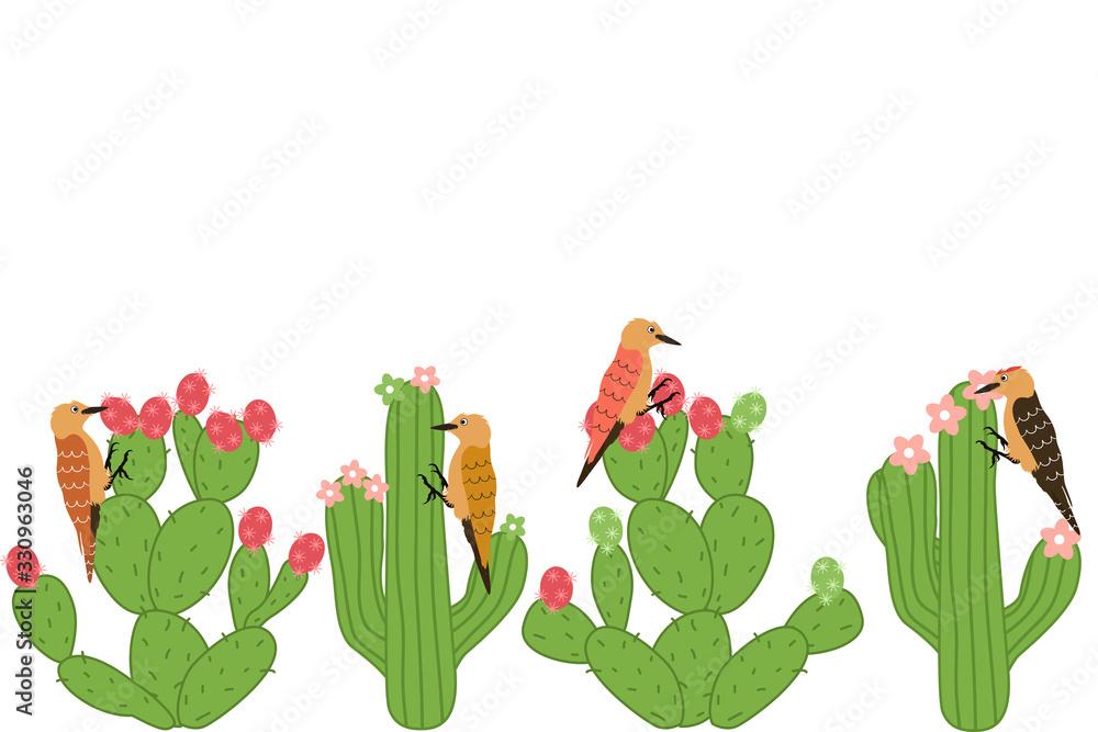 Fototapeta Happy cute desert bird feeding on Opuntia plant or prickly pear cactus fruit and saguaro cactus seamless pattern background and borders. Cartoon Gila woodpecker frame border seamless pattern.