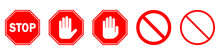 Red STOP Sign Isolated. Vector Stop Hand Sign