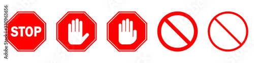 Fototapeta Red STOP sign isolated. Vector Stop hand sign
