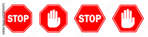 Obraz Red STOP sign isolated. Vector Stop hand sign - fototapety do salonu