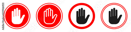 Hand forbidden vector sign. Stop hand icons set. Canvas Print