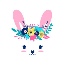 Hand Drawing Print Design. Sweet Bunny  And Flower Crown Vector Illustration .