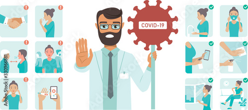 Obraz Coronavirus covid-19 protection tips. Doctor character holding STOP sign - fototapety do salonu