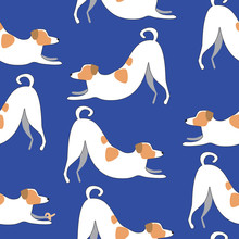 Seamless Pattern With Jack Russell Terrier On A Blue Background For Printing On Fabric Or Textile And Baby Clothes, Scandinavian Vector Stock Illustration With Doodle Dog As A Yoga Concept