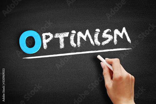 Optimism text on blackboard, concept background Wallpaper Mural