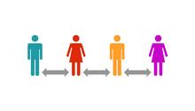Abstand Halten - Menschengruppe Oder Schlange Beim Anstehen