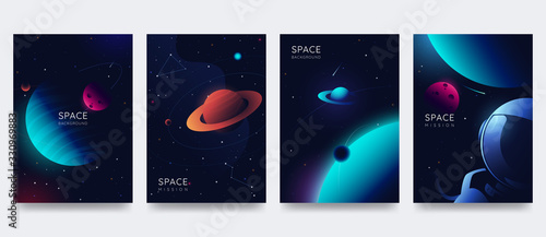 Fototapeta Space poster set. Outer space background with place for text. Cosmos scenes with planets, stars, comets. Vector illustration of galaxy. Greeting card collection in sci-fi style. obraz