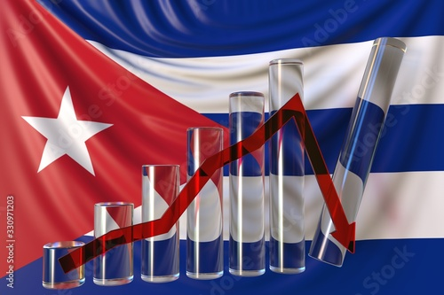 Photo Glass bar chart with downward trend against flag of Cuba