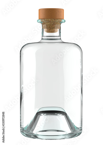 Valokuvatapetti Clear Glass Bottle of Gin, Tequila, Vodka, Rum or other Alcohol with Drink