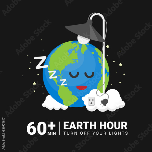 Earth Hour Day banner with earth character sleep after turn off light vector design