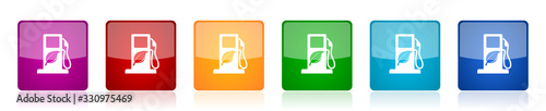Photo Biofuel icon set, colorful square glossy vector illustrations in 6 options for w