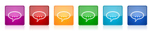 Forum Icon Set, Colorful Squar...
