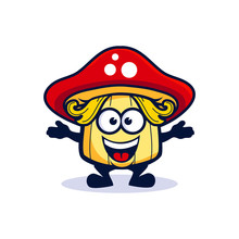 Cartoon Little Mushroom With T...