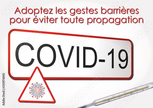 Fotografie, Obraz COVID-19, adoptez les gestes barrières pour éviter toute propagation