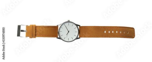 Fotografija Elegant wristwatch isolated on white, top view