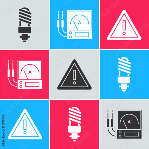 Photo Set LED light bulb, Ampere meter, multimeter, voltmeter and Exclamation mark in triangle icon