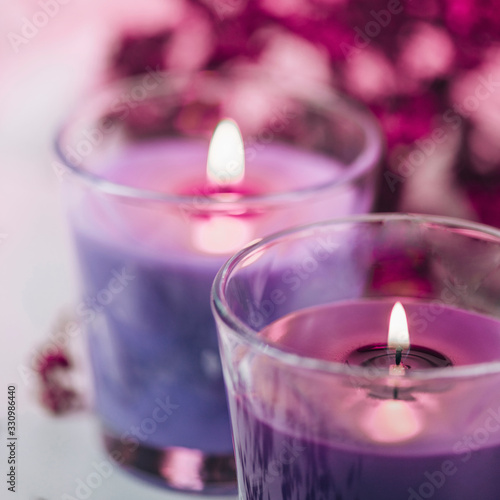 Obraz Aromatic Rose and Blue Scented Candles with Pink Dried Flowers Decoration - fototapety do salonu