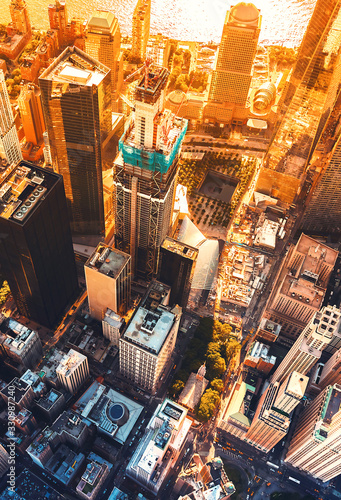 Obraz Aerial view of lower Manhattan New York City - fototapety do salonu